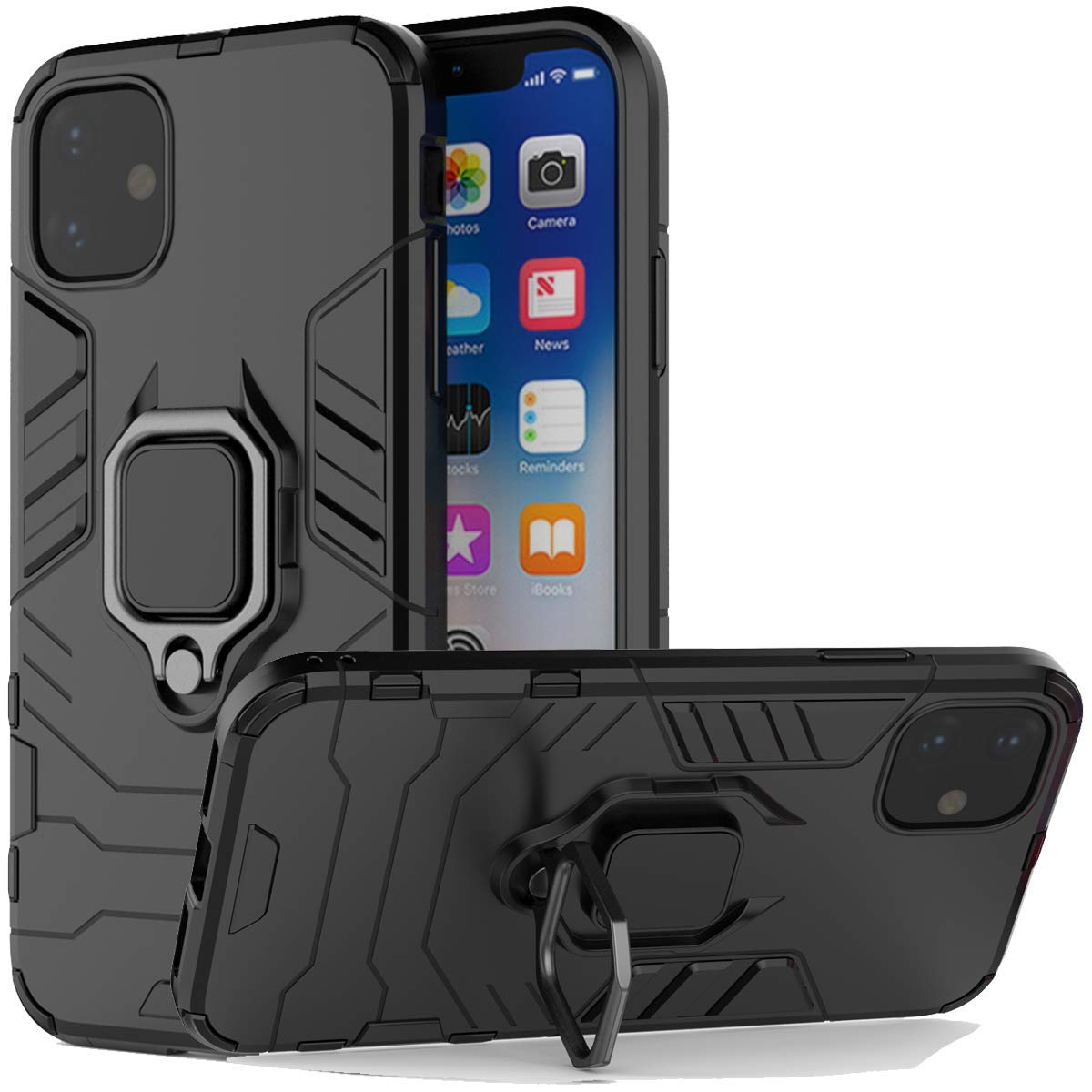 iPhone 11 2019 Case, Futanwei Rugged Metal [Fit Magnetic Car Mount] Rotating Ring Kickstand Phone Case, Double Layer Hybrid Anti-Fall Shockproof Armor Cover for iPhone 11 2019 6.1 Inch, Black by Futanwei