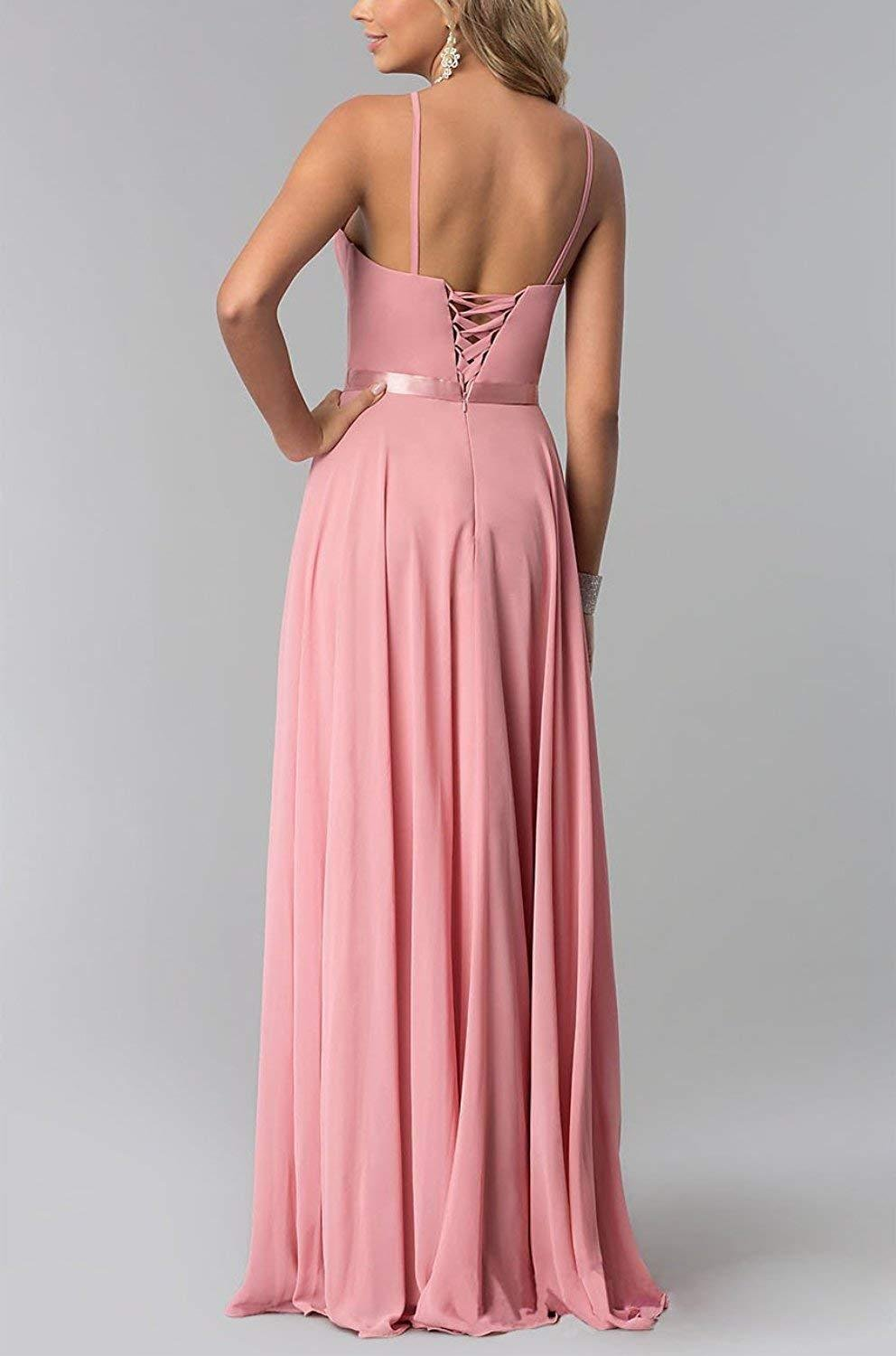 5ef3703ed85 ... Chiffon Women Formal Backless Simple Prom Party Gown Blush 4.   