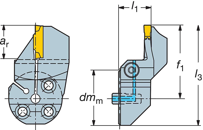 0.71 Maximum Depth of Cut Sandvik Coromant 570-32R123H18B220B Steel CoroCut 41641 Head for Face Grooving Holder