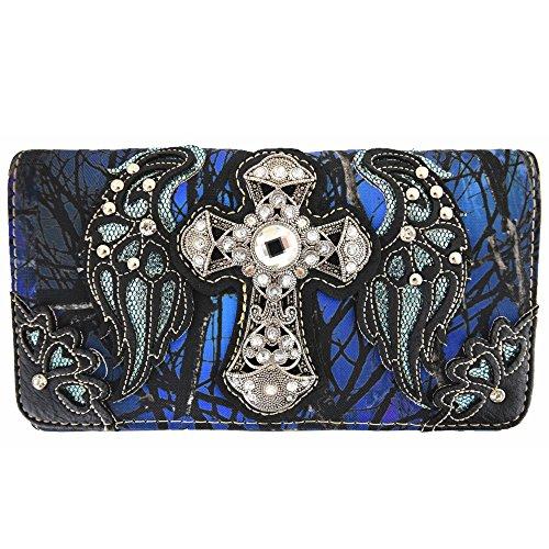 Western Camouflage Cross Wings Country Purse Single Shoulder Bags Clutch Women Blocking Wristlet Wallet (Blue)
