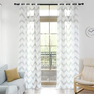 Sheer Curtains, NAPEARL Geometric Patterns Design Voile Curtains 63 Inch Length, Grommet Top Sheer Privacy Curtains for Living Room, Bedroom, Set of 2 Panels ( Each 52 x 108 in, Grey )