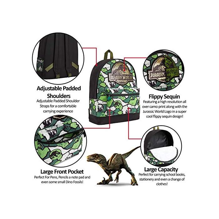 613oyZbizJL MOCHILA DE DINOSAURIOS JURASSIC WORLD --- Esta divertida mochila escolar de Jurassic Park para niños y niñas es muy cómoda y tiene mucho espacio para libros de texto, ropa o juguetes. Nuestras mochilas oficiales de Jurassic World presenta un increíble estampado de camuflaje y vienen con correas acolchadas, un bolsillo frontal con cremallera y un bolsillo lateral de malla elástica. DISEÑO ÚNICO --- Nuestra fantástica mochila escolar presenta el logotipo de Jurassic World con detalles de lentejuelas en la parte delantera y un moderno estampado de camuflaje. Ideal para cualquier amante de los dinosaurios, esta mochila es perfecta para diferentes ocasiones, tanto para ir al colegio cómo salir de excursión o de vacaciones. EDICION LIMITADA --- Mochilas escolares de Jurassic World con licencia oficial para niños, niñas y adolescentes. Estas mochilas han sido diseñadas exclusivamente para tiendas F&F Stores y no las encontrarás en ningún otro lugar. Ideales como regalo para cualquier fan de los dinosaurios.