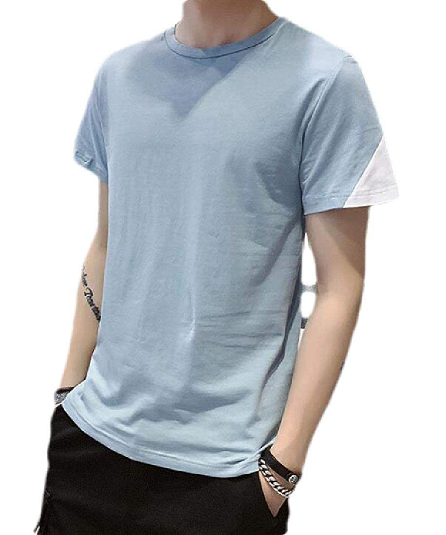 Domple Men Round Neck Short Sleeve Color Block Casual Cotton T-Shirt Tee