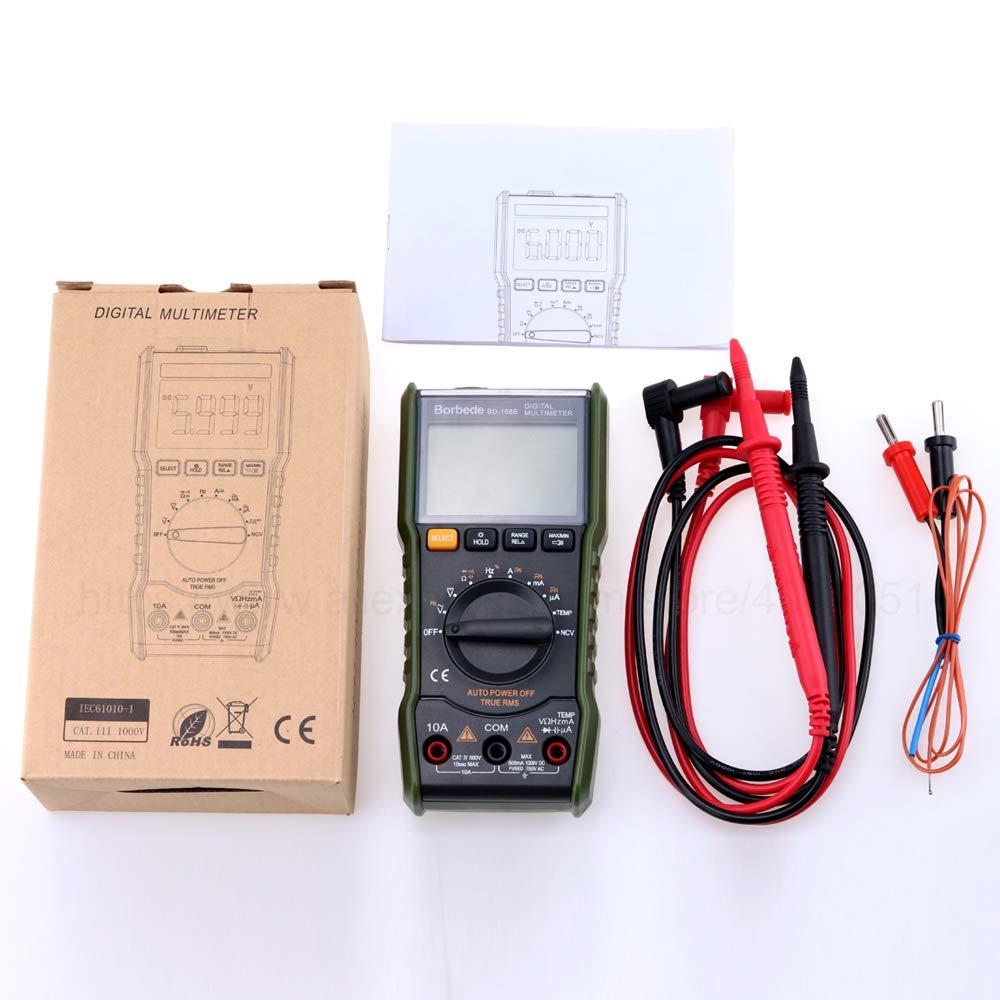 168C Escaneo autom/ático Mult/ímetro digital DC Corriente CA Voltaje Corriente Capacitancia Verdadero RMS Probador 6000 Cono Port/átil
