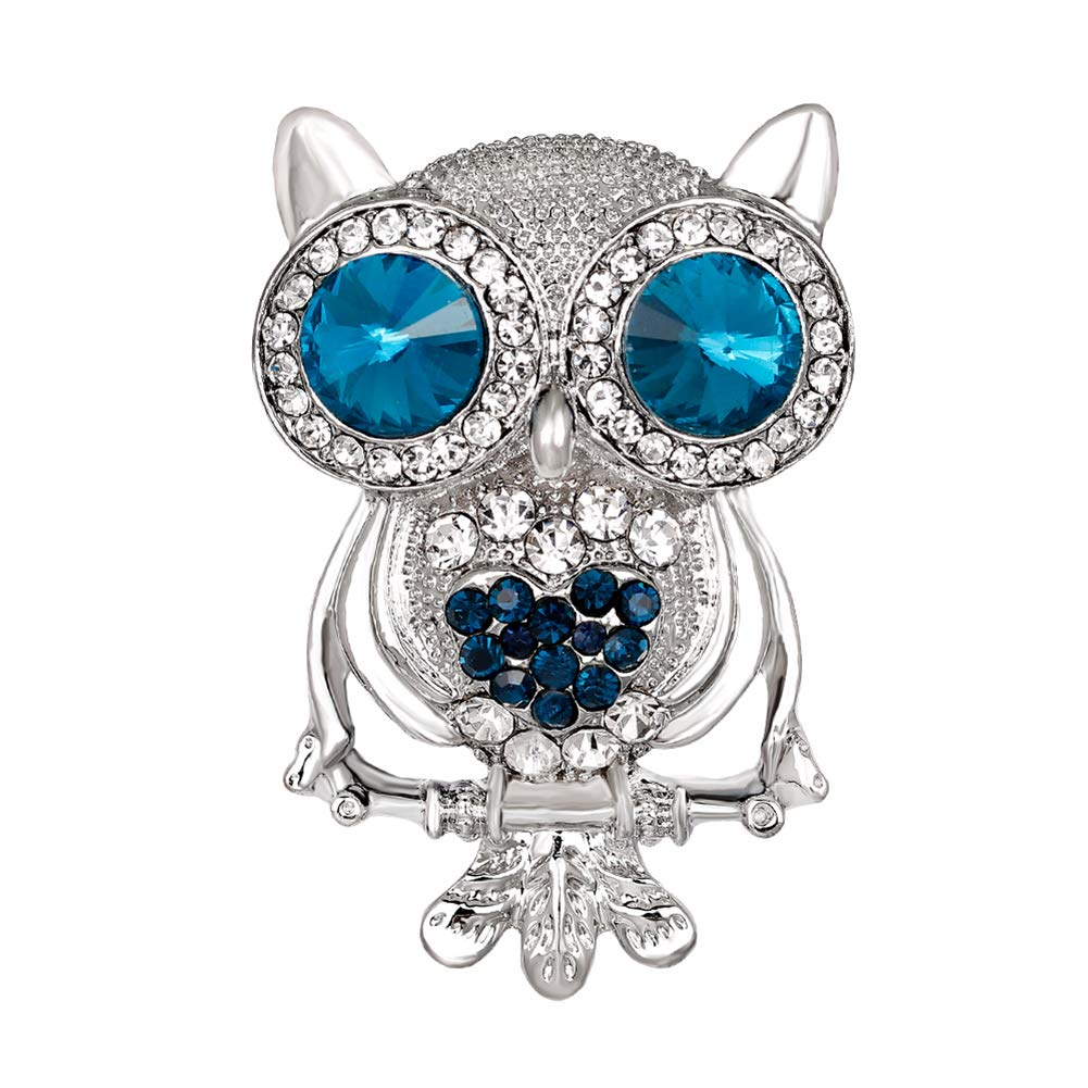 Brooch Clip Scarves Shawl Collars Clip,Women Fashion Owl Animal Rhinestone Inlaid Brooch Pin Badge Coat Dress Decor - Silver