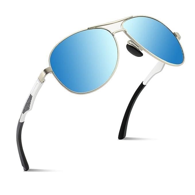 1c4407c907 CGID GA61 Prima de aleación Al-Mg Pilot gafas de sol polarizadas UV400,  bisagras de resorte duplicadas completas gafas de sol para Hombres Mujeres:  ...