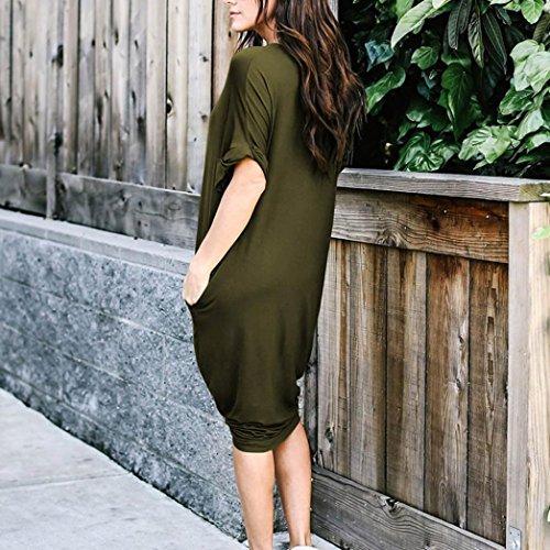 gaddrt Damen Kleid beiläufige feste kurze HülsenKnieLängenKleidlose ...