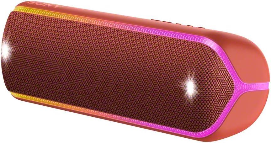 Sony SRS-XB32R - Altavoz inalámbrico portátil (Bluetooth, Extra Bass, diseño portátil, batería hasta 12h, Sonido Live Sound, Party Booster, Luces, Resistente al Agua y Polvo IP67) Rojo