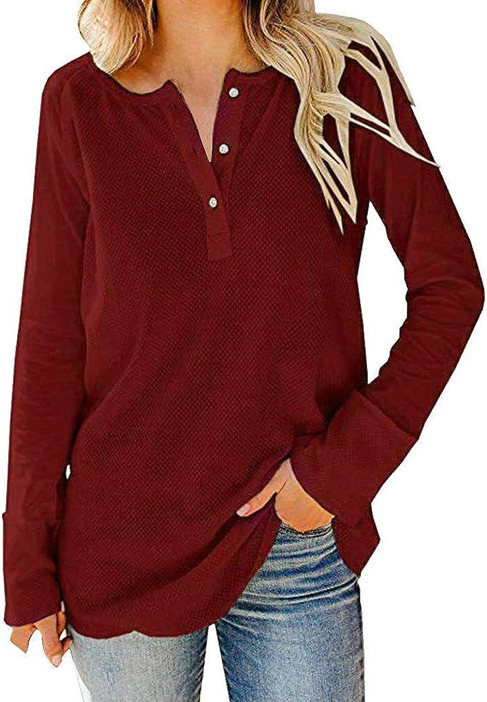 Camiseta Suelta Botones Mujer Camisa Casual de Blusa con ...