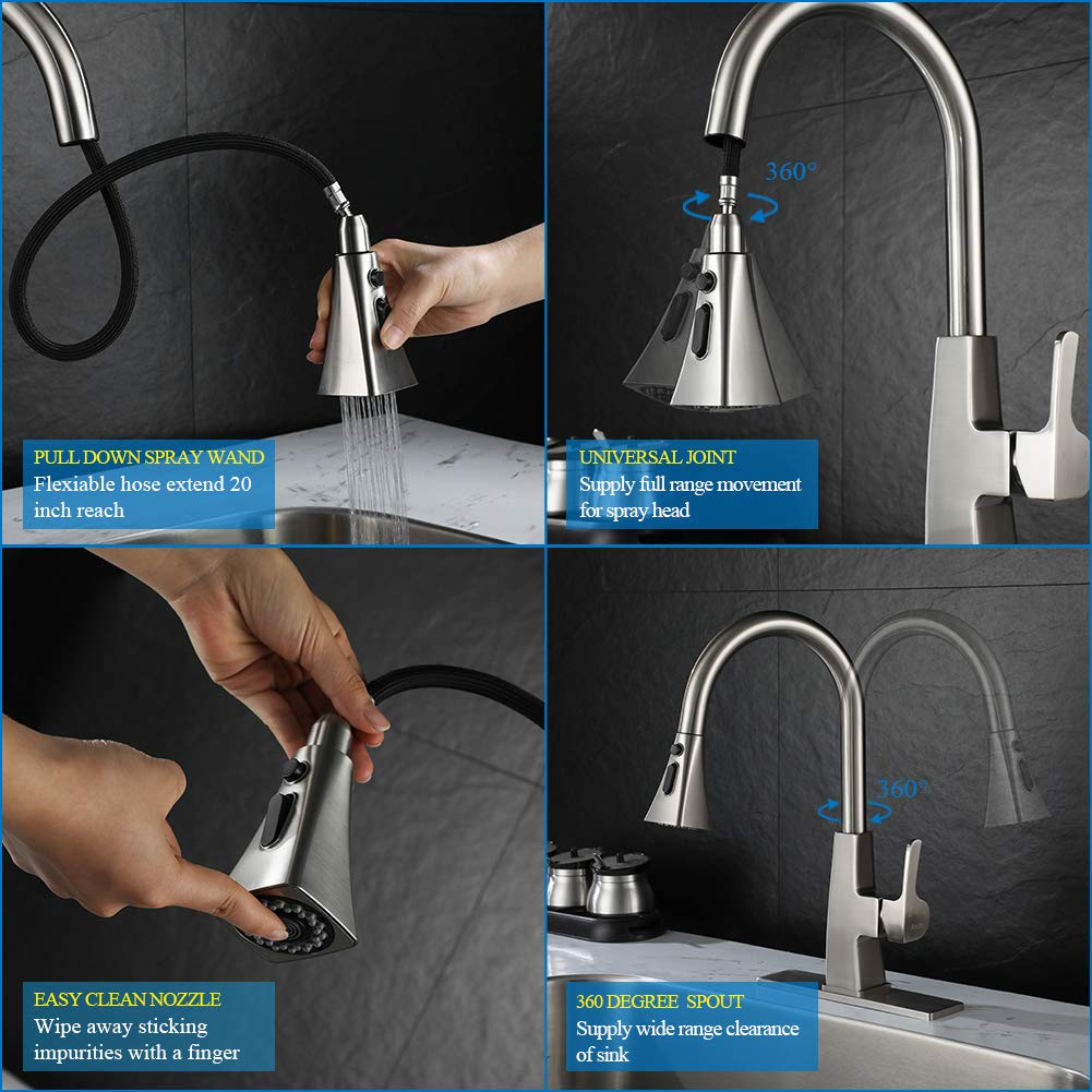 Kitchen sink faucet-Arofa A03LY single handle brushed nickel stainless steel gooseneck kitchen faucets with pull down sprayer by Arofa (Image #4)