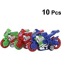 Toyvian 10pcs Mini Pull Back Motocicleta Juguete Modelo
