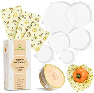 Aristomache Beeswax Wraps and Silicone Lids, Eco Friendly, Reusable Beeswax Food Wraps and Covers, Sustainable Plastic Alternative, Zero Waste, Assorted 3 Pack Food Wraps + 6 Pack Silicone Lid Covers