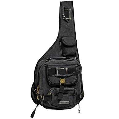 Image Unavailable. Image not available for. Color  GK Eurosport Canvas  Urban Sling Crossbody Backpack Bag (Black) 9f3d807389e5f