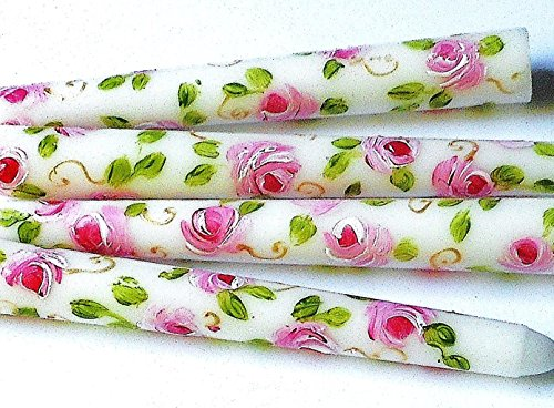 Decorated Short White Taper Candles with Hand Painted Roses