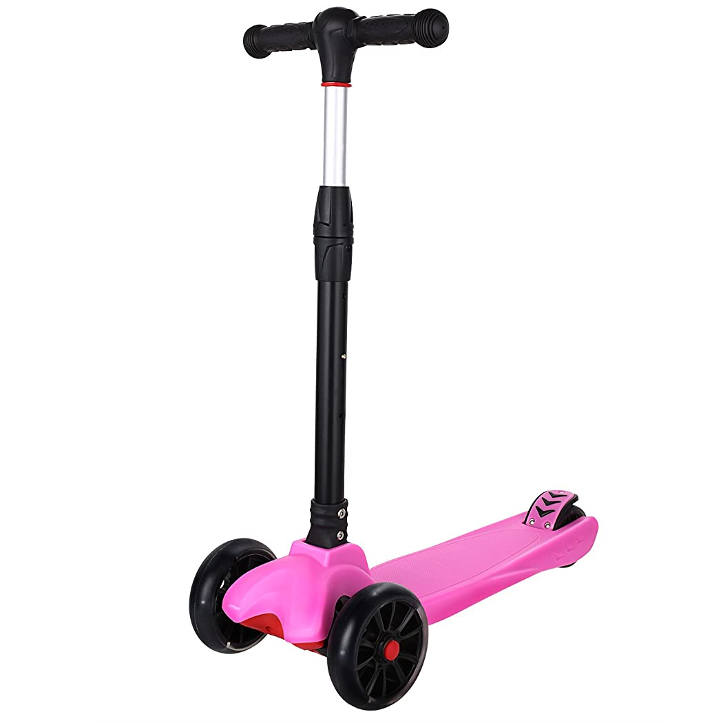 Dongchuan Kick Scooter Adjustable Height &Foldable Scooter For Kids Christmas Gift with 4 LED Light Wheels Smooth & Fast Rid Ride On PU ABEC-5 Bearing Wheels for Children over 3 Year Old