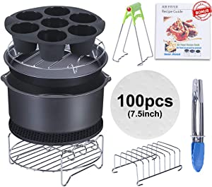 7 Inch Air Fryer Accessories, Best Hot Deep Set of 11 Fit all 3.7Qt-5.3Qt, Air Fryers, BPA Free (7 Inch, 11pcs, Black)