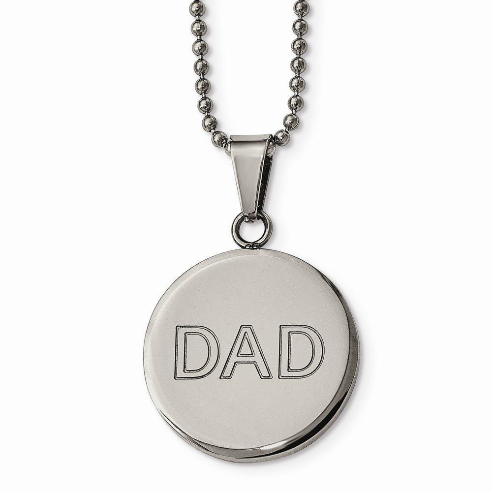 viStar Stainless Steel Lasered /& Polished Dad Circle Necklace