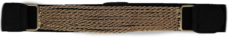 TFJ Women Fashion Gold Metal Chain Buckle Belt Hip High Waist S M Black
