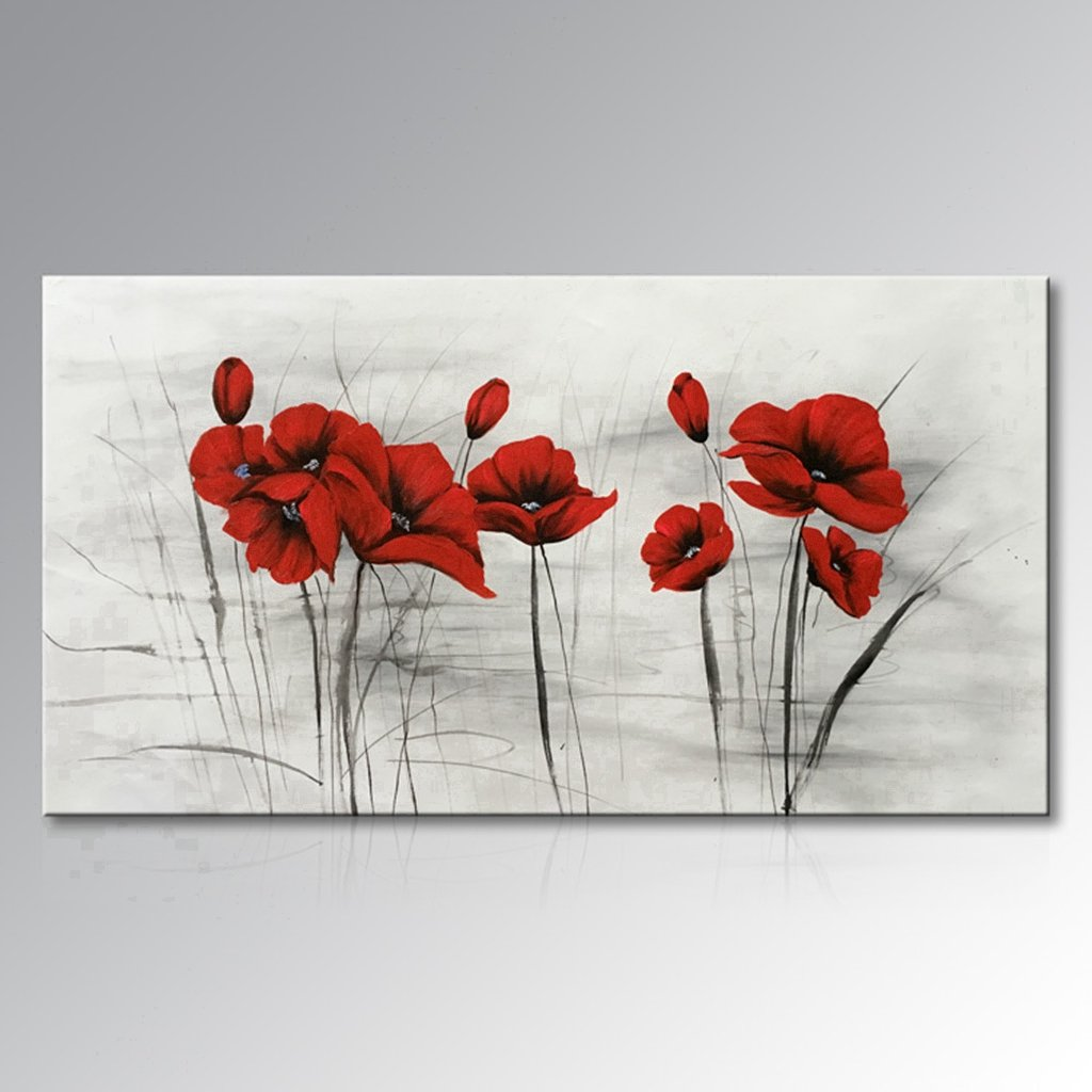 Everfun Art Hand Painted Abstract Red Flower Artwork Landscape Oil Painting on Canvas Wall Art Framed Ready to Work for Home Decoration (56''W x 28''H) by Everfunart