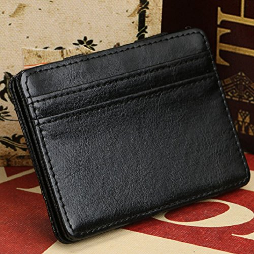 Carte Amison Cuir Luxe Titulaire Bifold Noir Neutre Sac Portefeuille Pu Mini Argent Magie Clip Y8nawqnpx