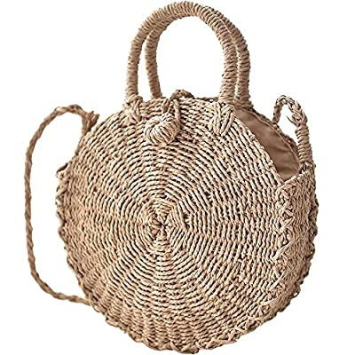Straw Handbags Women Beach Shoulder Summer Top Handle Crossbody Round Purse Ladies Woven Fashion Crochet