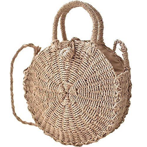 Straw Handbags for Women Beach Large Shoulder Summer Top Handle Crossbody Round Purse Ladies Woven Rattan Fashion Crochet Small Khaki with Buckle style (Hand Woven Bag)
