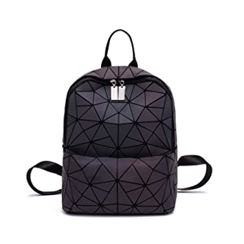 Amazon.com  Women Geometric Luminous Backpack Fashion Bags Lingge Flash  Travel School College Rucksack NO.5S  Chanlee d93ff450d8