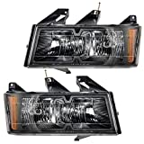 Driver and Passenger Headlights Headlamps with Black Bezels Replacement for Chevrolet GMC Isuzu Pickup Truck 20766569 20766570