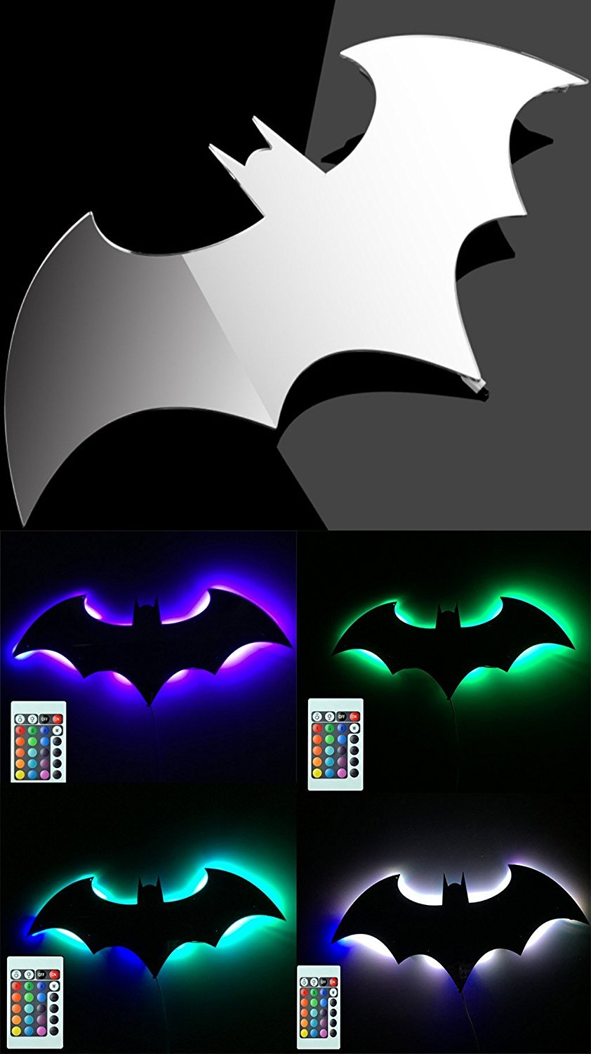 Bat LED Wall Light,Colorful Mirror Light,Remote Control Projection Night Light,Halloween Decorative Light,Suitable for Bedroom/KTV / Corridor/Background Wall, etc (Colorful) QI MING XING JING-Batman-7C