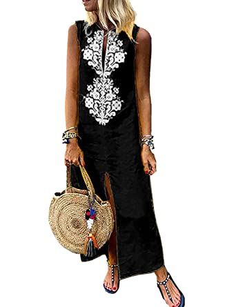 dd337c20089 Dokotoo Womens Fashion Ladies Bohemian Vocation Sleeveless Casual Slit  Crochet Geometric Summer Shift Long Maxi Dress