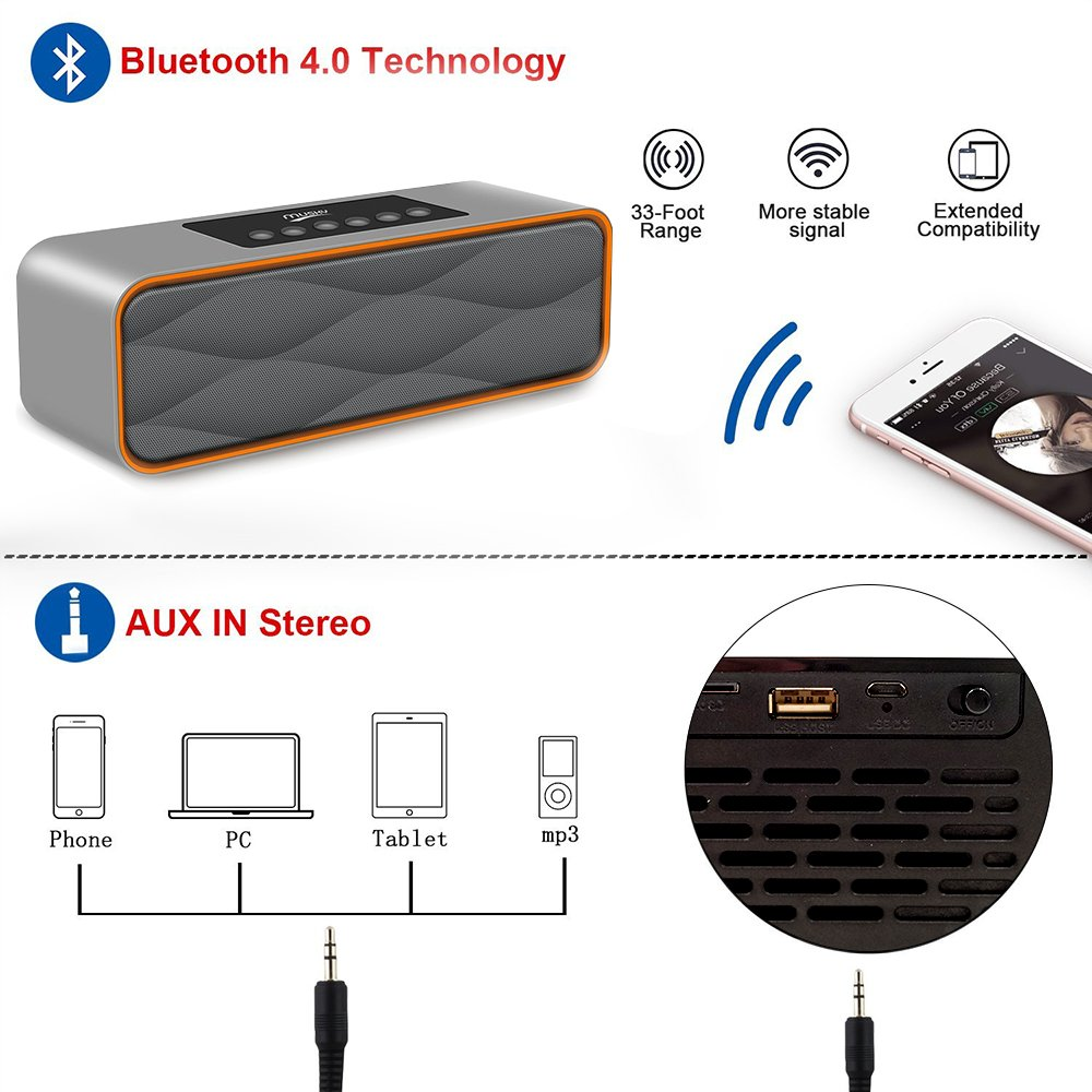 Wireless Bluetooth Speakers,XPLUS All-in-1 Portable HIFI V4.0 Wireless Bluetooth Speakers,Hands-Free Speakerphone with Mic,Support TF Card for Smartphones and All Audio Enabled Devices (Grey)