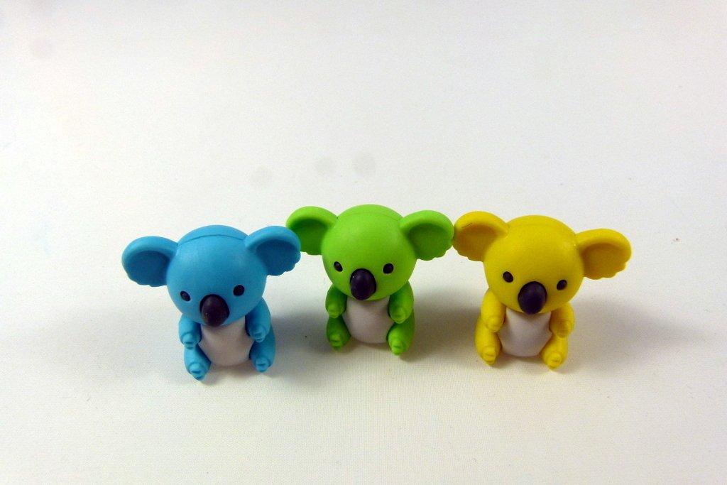 Iwako Blue, Green and Yellow Koala Bear Japanese Erasers from Japan