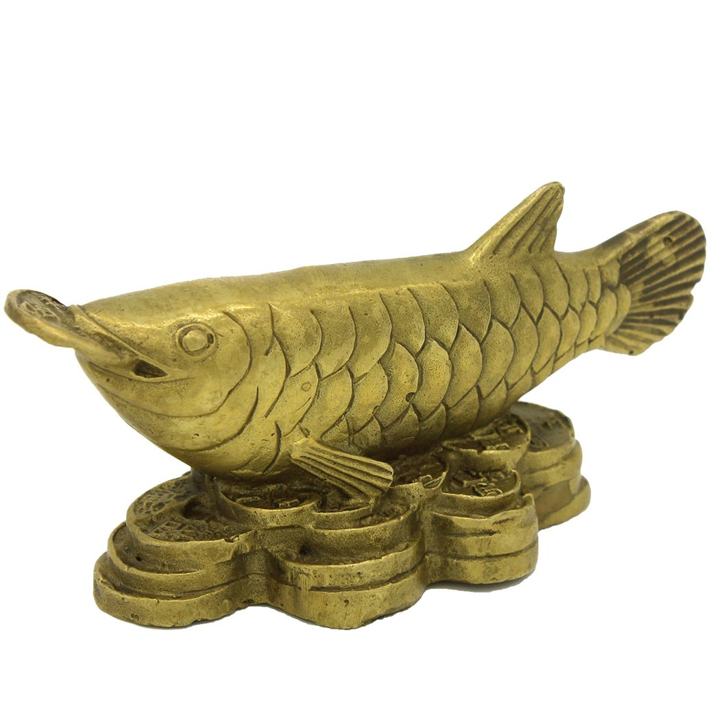Fengshui Wealth Brass Copper Arowana Fish Statue Figurine Décor Golden Fish with Coin in Its Month