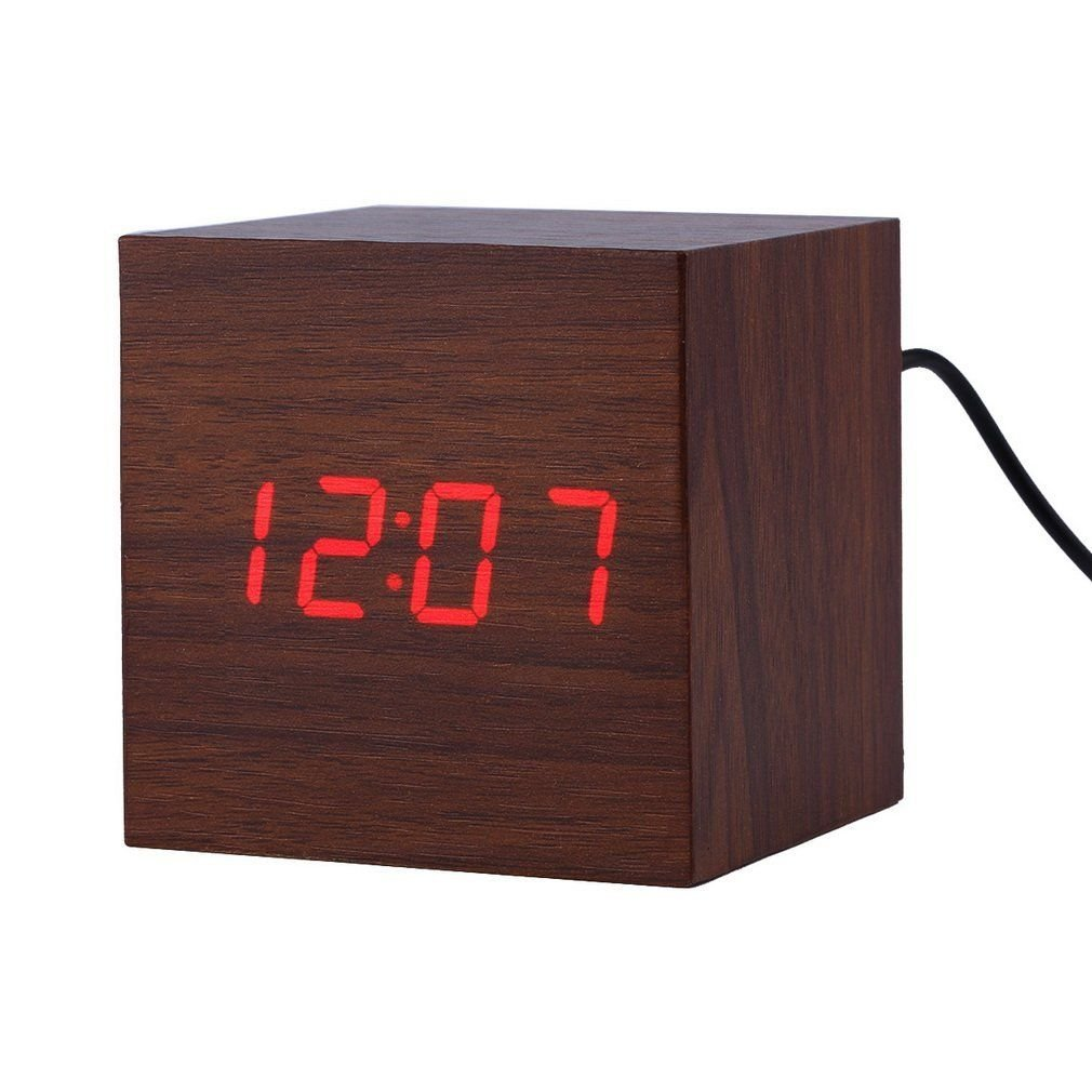 LED Digital Alarm Clock ixaer Wood Digital LED Brown Alarm Clock with Time Date Hygrometer And Temperature Clock - Multi-functional Small Silent Modern Style Electronic Alarm Clock by ixaer (Image #1)