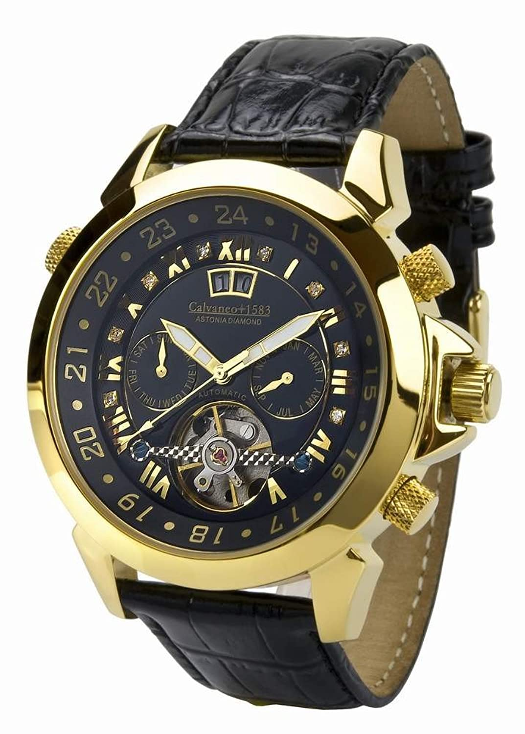 Calvaneo 1583 Astonia 'Black DIAMOND Gelbgold' Luxury Automatikuhr