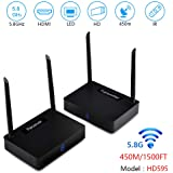 Wireless HDMI Sender Measy HD595 Wireless HDMI Extender/Adapter/Dongle 1500 Ft Dual Antenna with IR Signal Transmission