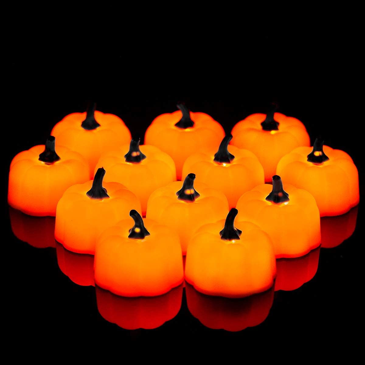 Yellow Pack of 12 Fulighture LED Electric Flameless Pumpkin Candle Lights Realistic and Bright Battery Included for Indoor Home Lighting Outdoor Decor Party Halloween