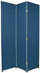 ORIENTAL Furniture 6-Feet Tall Woven Fiber Room Divider, Special Edition, Blue Jeans