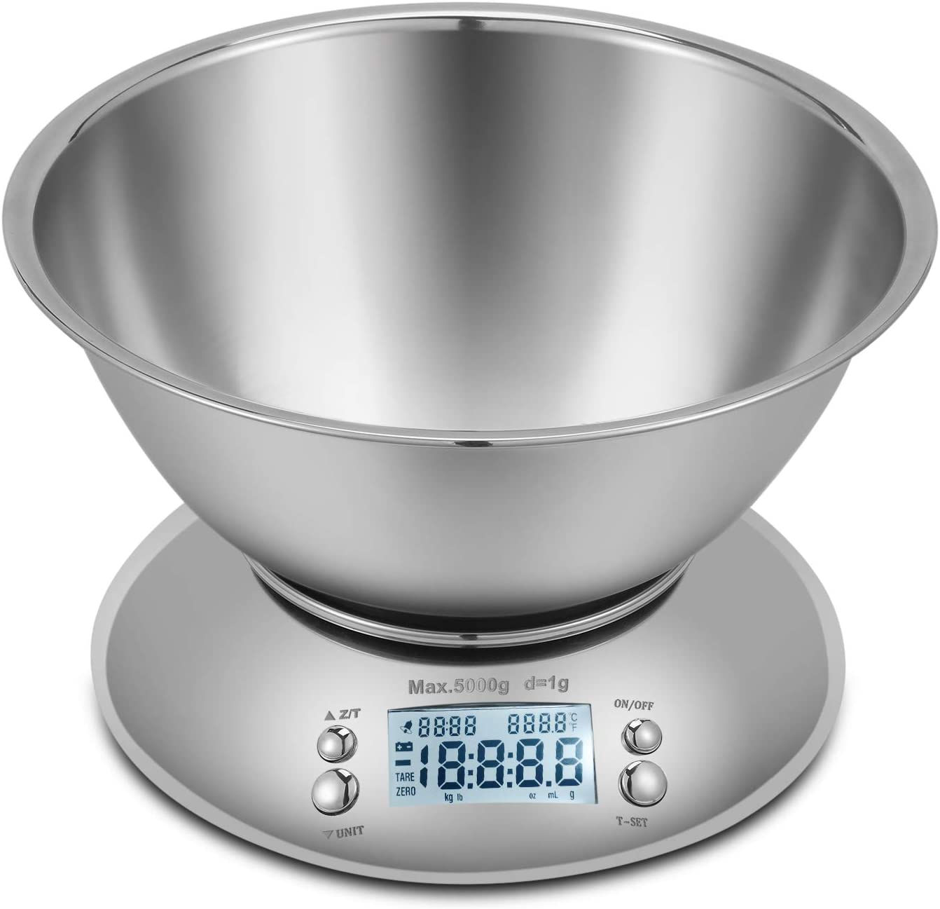 Flexzion Digital Kitchen Food Scale, Gram Scale Premium Precision Multifunction Electronic with Max Weight 11lb 5kg Removable Stainless Steel Bowl 2.15l Liquid Volume, Temperature and Timer, Backlight