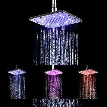 "8/"" Square 12 LED Water Color change Rain Shower Head High Pressure Stream Nozzle"