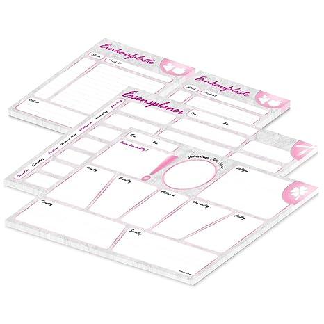 "25 Blatt 3 Stück rosa A4 PRICARO Wochenplaner /""Marmor/"""