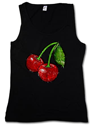 9b7e28730a724f Urban Backwoods Oldschool Cherries Vintage Logo I Woman Tank TOP - Cherry  Rockabilly Tattoo Kirschen Sizes S - 5XL  Amazon.co.uk  Clothing