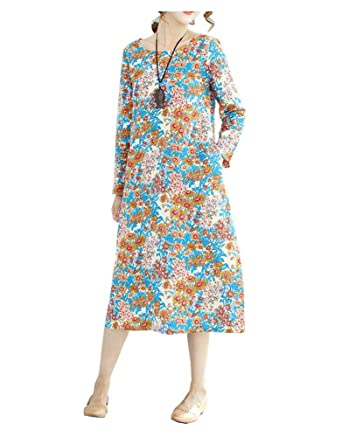 e25e2f1f66f Lovely Item Women s Soft Long Sleeve Floral Casual Loose Cotton Linen Maxi  Dress at Amazon Women s Clothing store
