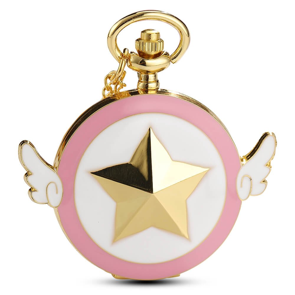 Womens Sakura Star Wings Quartz Pocket Watch with Chain + Gold Box