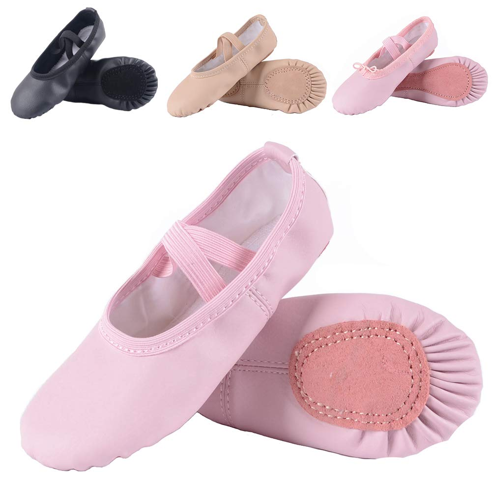 Leather Ballet Shoes for Girls/Toddlers/Kids, Full Sole Leather Ballet Slippers/Dance Shoes, Pink/Nude (Foot Length:145mm - Toddler - 8M US, Pink-Leather)