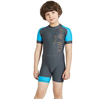 9c167e8644 Boys Girls One Piece Swimsuit - Kids Short Sleeves Swimwear UPF 50+ UV Sun  Protection Wetsuits Diving Suits: Amazon.co.uk: Clothing