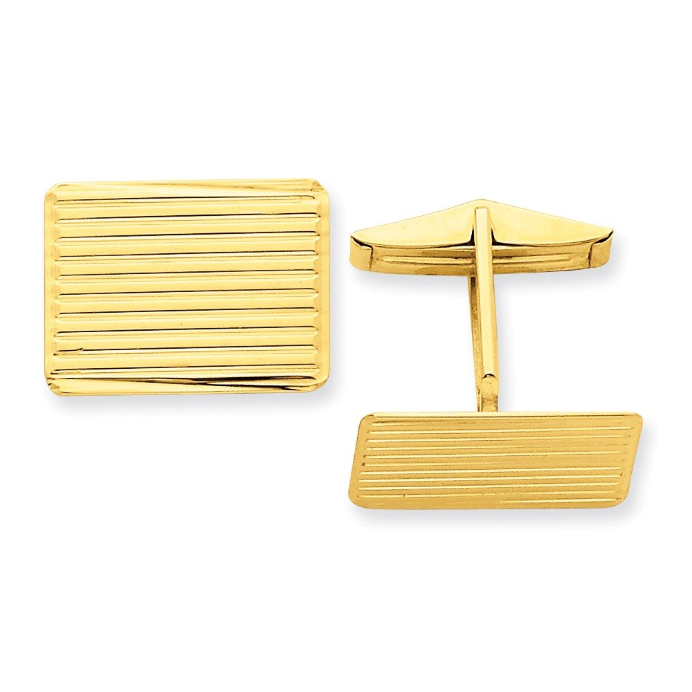 14k Yellow Gold Rectangular Striped Cuff Links