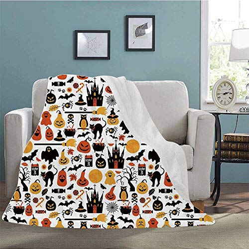 Philadelphia Halloween October 31 (YOLIYANA Halloween Soft Print Blanket,Halloween Icons Collection Candies Owls Castles Ghosts October 31 Theme Decorative for Living Room,39