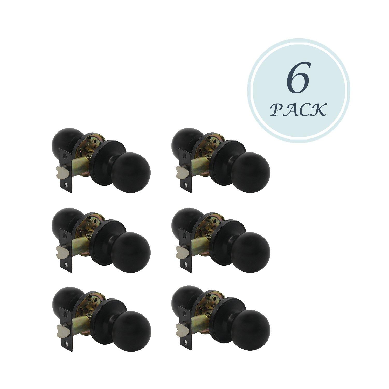 Matte Black Door Knobs, Classic Passage Door Knob Hall and Closet Handle Lock, Matte Black Passage Knobs, 6 Pack