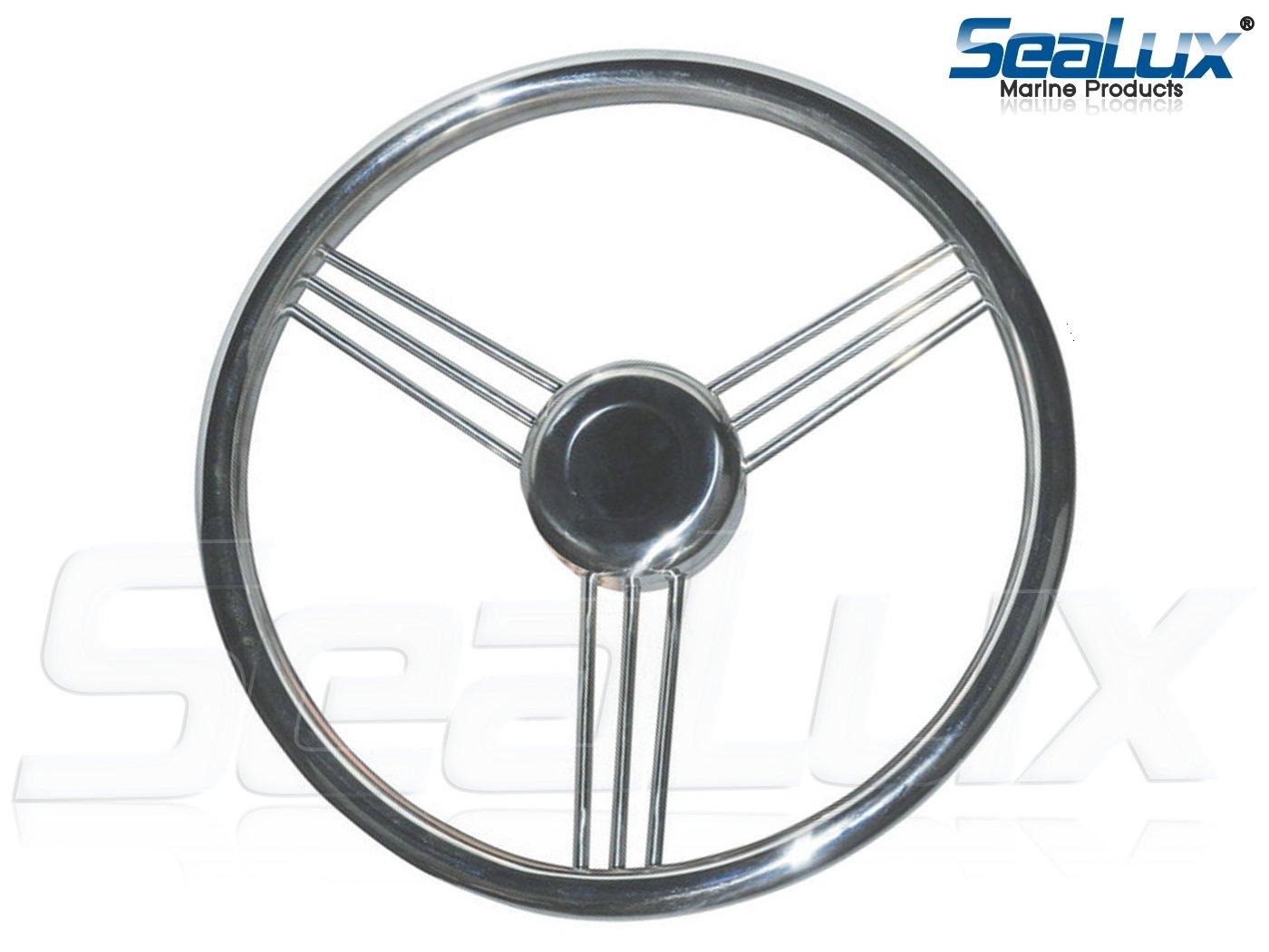 SeaLux 9 Spokes Stainless Steel Marine Boat Steering Wheel 13-1/2'', 15 degree dish